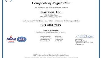 Kastalon announces ISO 9001:2015 certification by NSF-ISR