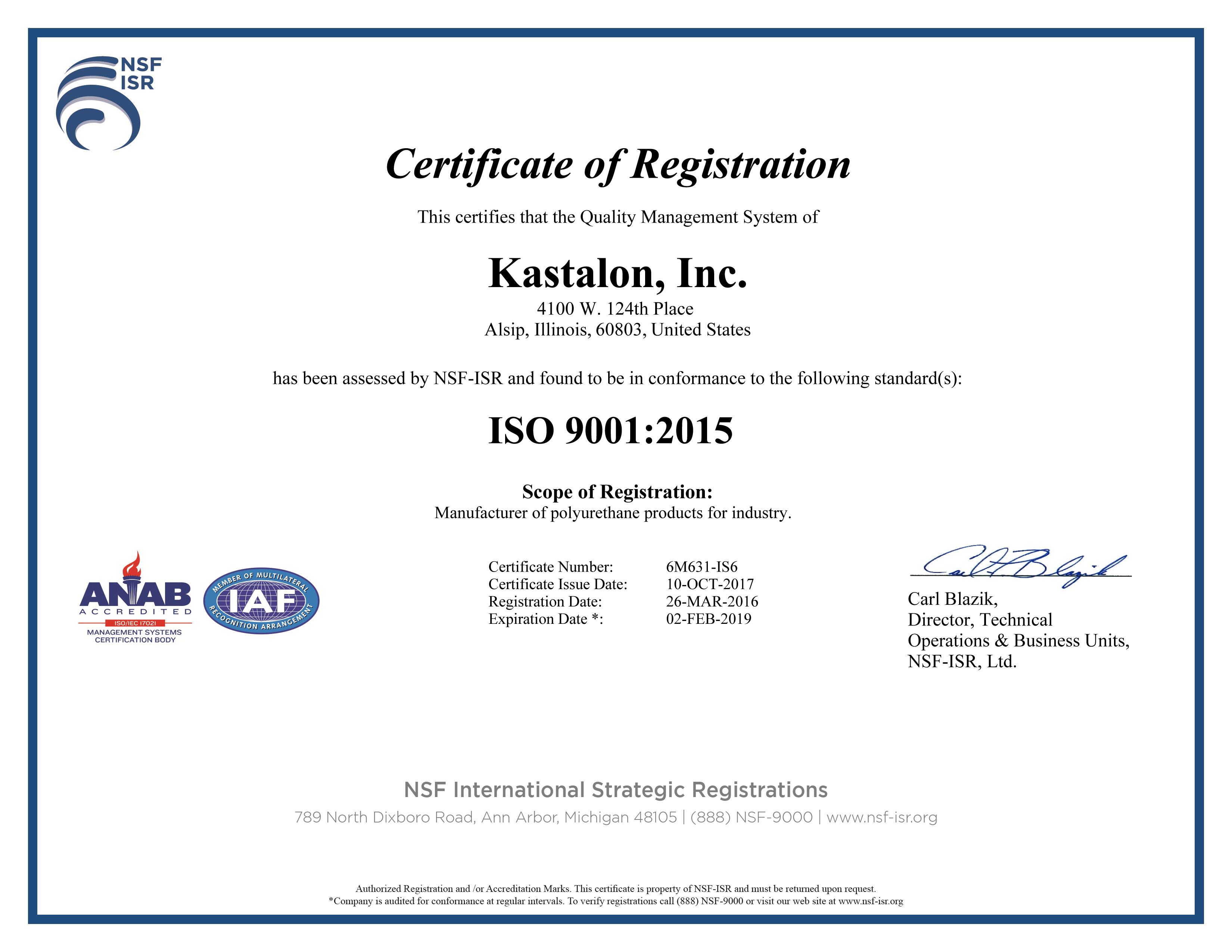 Kastalon announces ISO 9001:2015 certification by NSF-ISR